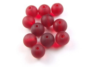 Perlen, satiniert, 8 mm, deep ruby red