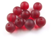 Perlen, satiniert, 10 mm, deep ruby red