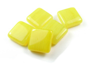 Glasperlen, Quadrate, 17,5  mm, yellow